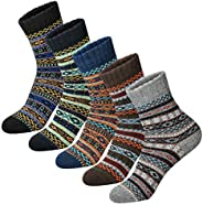 Women Winter Socks 5 Pairs Cotton Thick Knit Vintage Soft Cozy Crew Socks