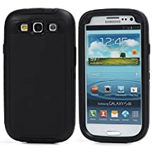 MOONCASE Galaxy S3 Case, 3 Layers Heavy Duty Defender Hybrid Soft TPU +PC Bumper Triple Shockproof Drop Resistance Protective Case Cover for Samsung Galaxy S3 I9300 -Black
