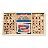 Melissa & Doug Alphabet Stamp Set, Stamps with Lower-Case and Capital Letters, 4 Colors, 56-Stamps, 3.81 cm H × 16.51 cm W × 30.48 cm L