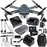 DJI Mavic Pro Drone Quadcopter (Fly More Combo) CP.PT.000642 + 64GB microSDXC + Memory Card Wallet + Landing Gear Kit - Leg Extensions for DJI Mavic + Deluxe Starter Kit + MicroFiber Cloth Bundle