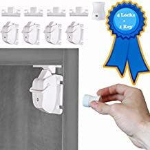 LifeVault - Baby & Childproof Safety Magnetic Cabinet Locks - Best For Child Safety, Hidden Adhesive Cabinet and Desk, Door & Drawer Locking, Easy To Install, 4-pack