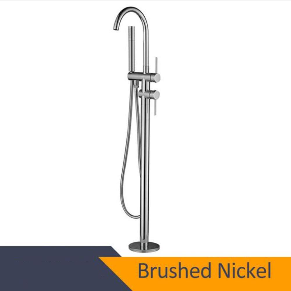 BrushedNickel MICHEN Black Bathtub Floor Floor Floor Stand Faucet Mixer Single Handle Mixer Tap 360 redation Spout With ABS Hand shower Bath Mixer Shower,Chrome e2ed85