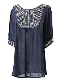Kafeimali Women's Embroidery Bohemian Shirts Tunic Peasant Tops Mexican Blouse