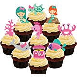 Mermaids and Sea Creatures Party Pack Edible Cupcake Toppers - Stand-up Wafer Cake Decorations by Made4You