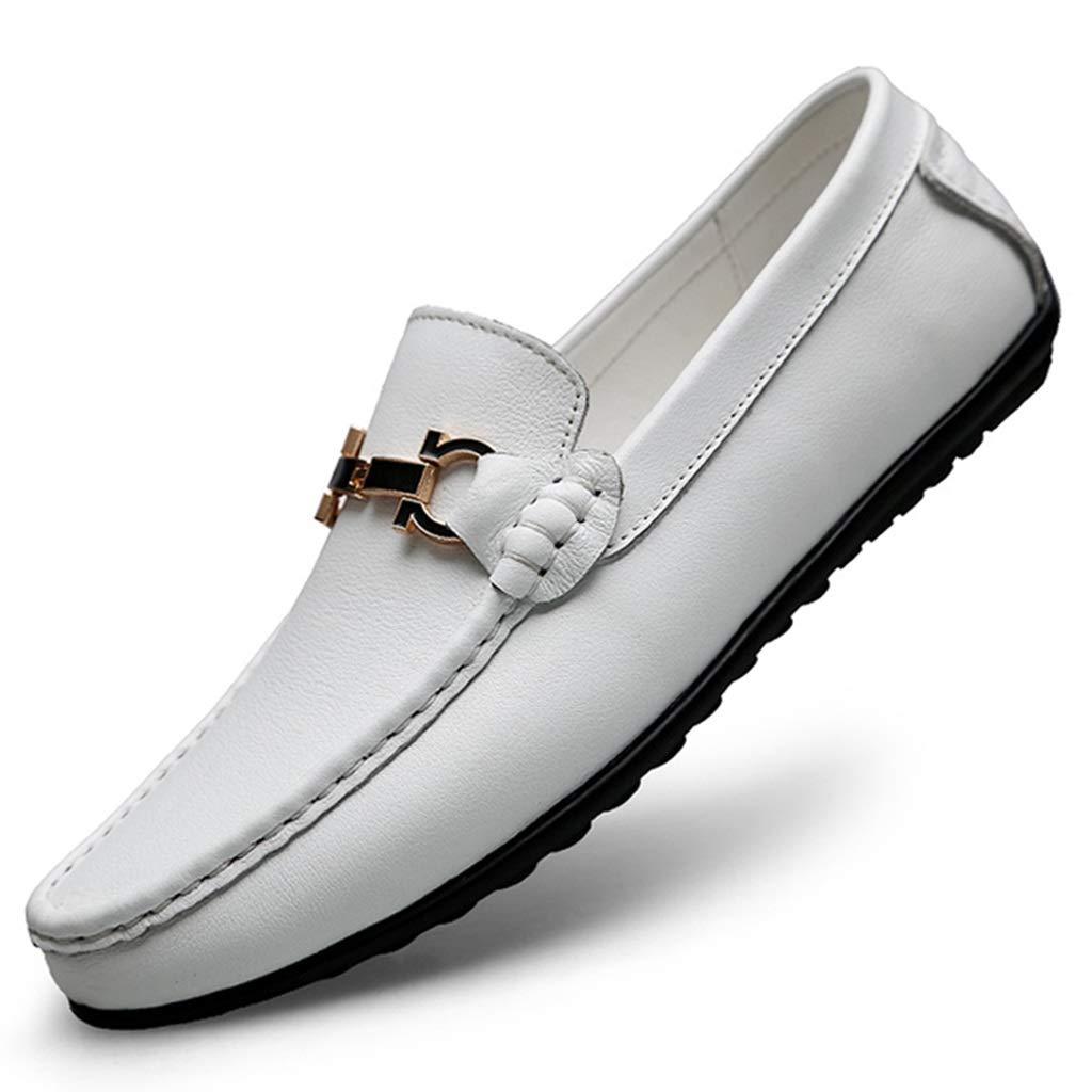 Vita Peas skor Män's läder Drive skor Casual Casual Casual skor Vita skor Män's Cattle läder Andable skor  erbjuder butik