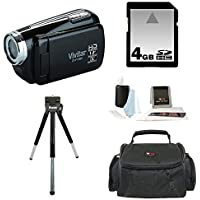 Vivitar DVR 508NHD-BLK 5.1MP Digital Camcorder with 4X Digital Zoom Video Camera with 1.8-Inch LCD Screen (Black) plus 4GB Deluxe Accessory Kit