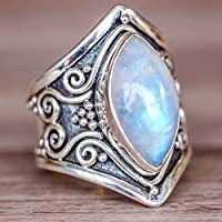 TheoneJewelry Large Antique Boho Jewelry 925 Silver Marquise Moonstone Gems Engagement Ring (8)