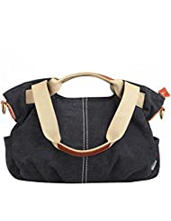 Eshow Women's Canvas bag Top Handle Totes Shoulder Bag female Zippered Tote handbag Messenger Bag daypack purse