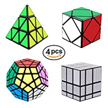 YuheBaby Rubix Speed Cube Set of 4 Magic Cube Puzzle Pack-Pyraminx, Megaminx, Skewb and 3x3 Mirror Cube, Brain Teasers Puzzles Toys for Kids and Adults