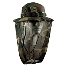 Rothco Woodland Camo Mosquito Netting Boonie Hat XL 7 3/4