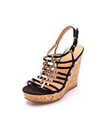 Alexis Leroy Summer Women's Classic Buckle Design Fashion Wedge Slingback Sandals