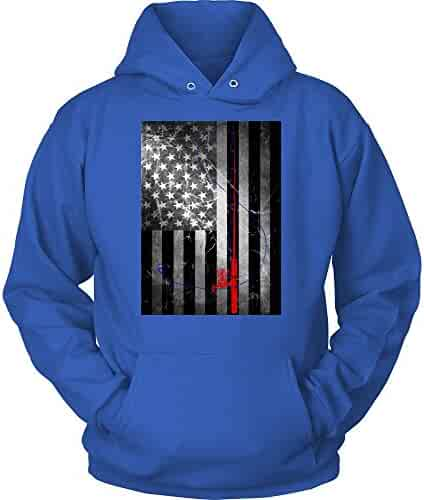 48fb960d2 American Vintage Flag with Red Fishing Rod & Blue Line & Hook Unisex Hoodie