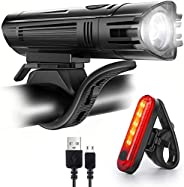 Bike Lights Set, Super Bright Front and Rear Bicycle Lights, with 4 Light Modes Front Lights and Tail Light, W