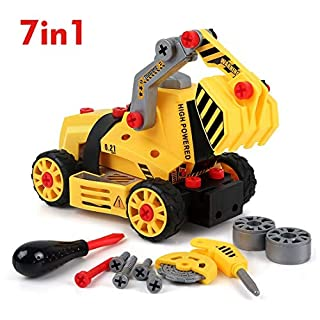 BeebeeRun 7-in-1 DIY Take Apart Truck Car Toys for 3 4 5 6 7 Year Old Boys Girls, Construction Engineering STEM Learning Toys Building Play Set for Kids Children