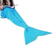 Ohuhu Mermaid Tail Blanket Super Soft Crochet Sleeping Blankets, 75''x32'', Blue