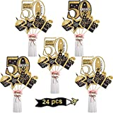 Blulu Birthday Party Decoration Set Golden Birthday Party Centerpiece Sticks Glitter Table Toppers Party Supplies, 24 Pack (50th Birthday)