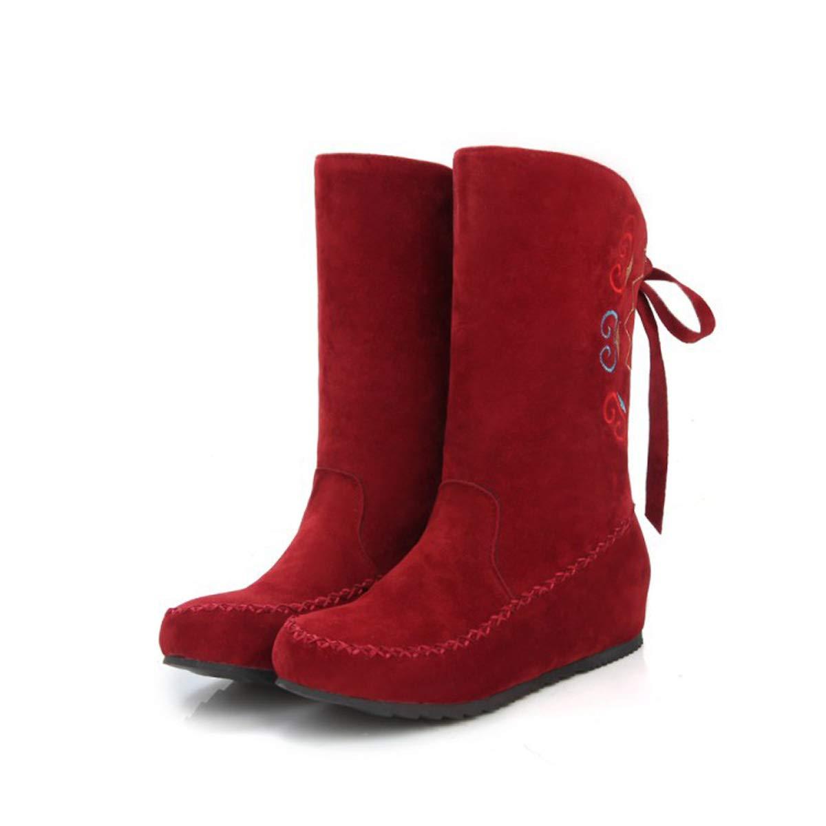 DANDANJIE DANDANJIE DANDANJIE Botas de Mujer Estilo étnico Invierno cálido Botas de Nieve señoras Casual tacón Plano Cordones Zapatos,D,39EU 0e8a31