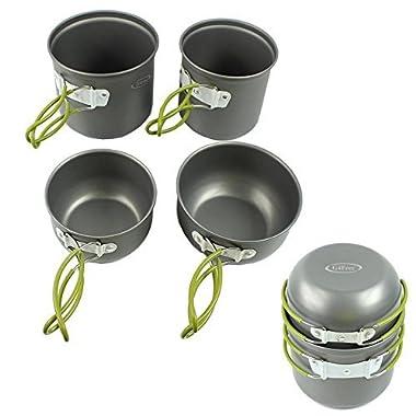 G4Free Outdoor Camping pan Hiking Cookware Backpacking Cooking Picnic Bowl Pot Pan Set 4 Piece Camping Cookware Mess Kit(4 PCS-Green)