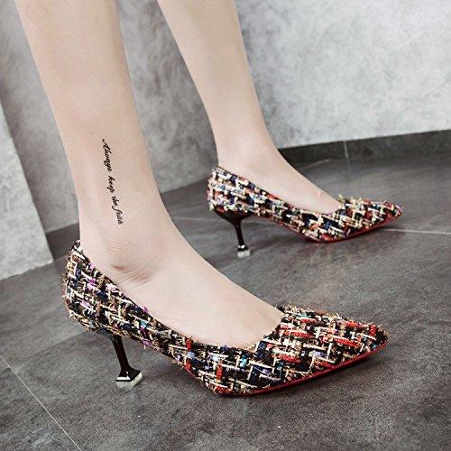 Xue Qiqi Tipp fein mit High Heels Schuhe Schuhe mit hellen Nähten Schuhe Schuhe weiblich 34 Schwarz farbig 7 cm ed7e7b