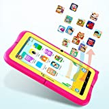 """Yuntab Kids Tablet Q88R 7"""" Allwinner A33,1.5Ghz Quad Core Android 4.4 Tablet PC,512+8GB,HD 1024x600,Dual Camera,WiFi,3D Game &TF Card,Supported with Parental Control Software - iWawa(Pink)"""