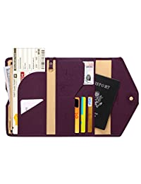 Zoppen Mulit-Purpose RFID Blocking Travel Passport Wallet (Ver.4) Tri-fold Document Organizer Holder, 8 Wine Red/Burgundy