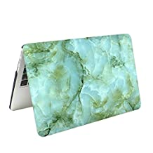 "Masino® Hard Case Cover for Macbook Air 13"" (A1369 and A1466) Plus a Free Masino Silicon Keyboard Cover as a Gift (Macbook Air 13"" A1369 and A1466, Marble-White with Light Green&Deep Green)"
