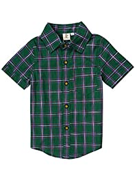 ARAUS Shirt Baby Boys Cotton Plaid Short Sleeve Top Summer for 3-11T