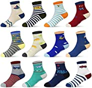 12 Pairs Kids Non Slip Skid Socks Grips Sticky Slippery Cotton Crew Socks For 1-3/3-5/5-7 Years Old Children Y