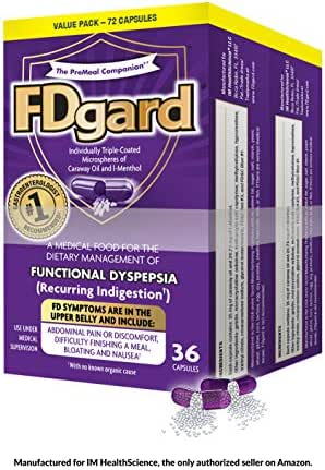 FDgard® for The Dietary Management of Functional Dyspepsia (Recurring Indigestion) Symptoms† Including, Abdominal Discomfort, Difficulty Finishing a Meal, Bloating†*, Nausea, 72 Capsules
