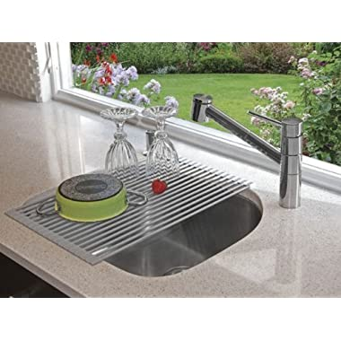 Roll-up Multi-purpose Drying Rack Silicone Coated Tough Stainless Steel Over Sink Rack Grey - 20.5  x 13.13