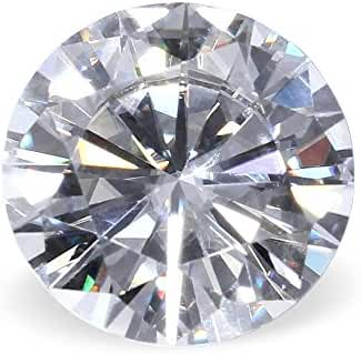 TransGems F Colorless Simulated Diamond Moissanite Loose Stone, Round Brilliant Excellent Cut VS1 Clarity