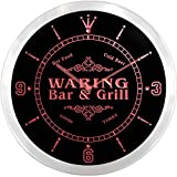 ncu47597-r WARING Family Name Bar & Grill Cold Beer Neon Sign LED Wall Clock