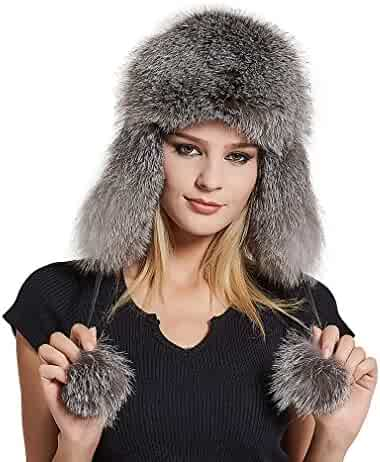 b3f0c8f438f Fur Story Women s Trapper Hat with Sheep Leather Earmuffs Warm Winter Fox Fur  Hat