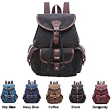 Queenie - Canvas Causal Daypack Laptop Backpack College Campus School Bags for Wowen Ladies Girls (Black Small Size)