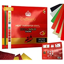 """Craftweeks HTV RED & GOLD THEME (10"""" x 12"""", 12 pack 8 assorted colors w/ Glitter) Heat Transfer Vinyl Sheet Bundle for DIY Gift Tees, Matching Clothes Outfits for Twins, Family, Couples"""