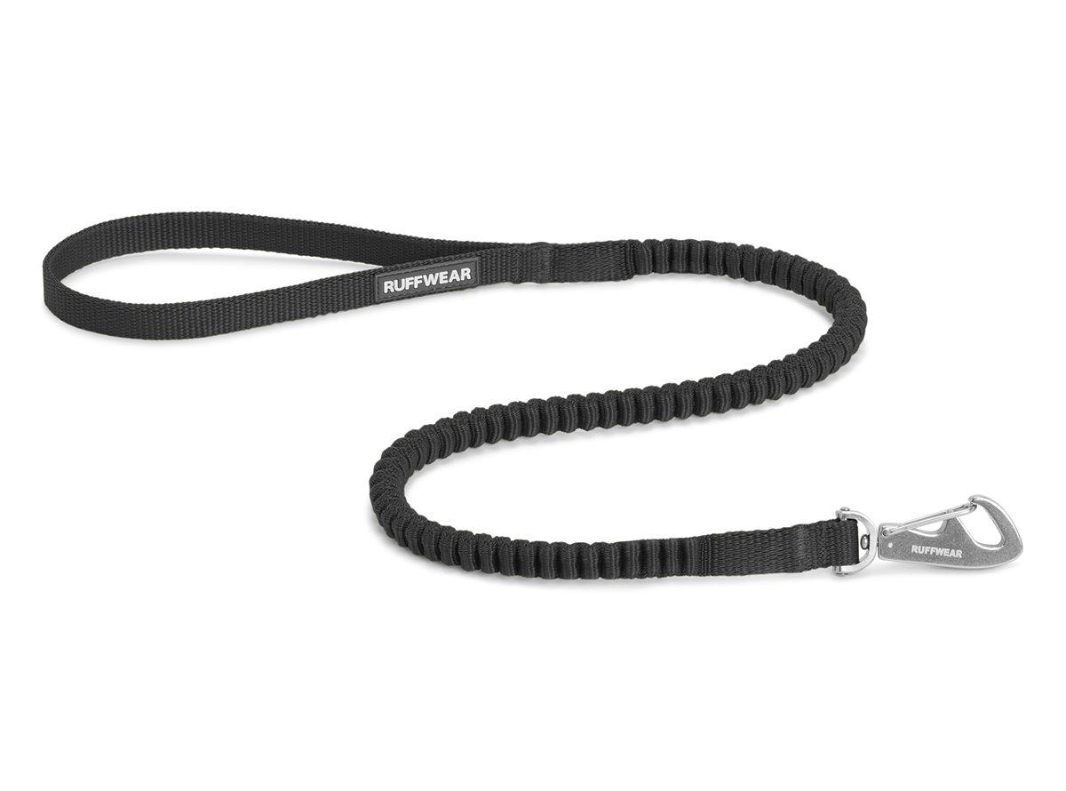 Obsidian Black Ruffwear Short Extendeble Dog Lead, All Size Breeds, Length: 0.75 m (2.5 ft) Stretch a 1.3 m (4.25 ft), Larghezza: 15 m m (0.6 in), Obsidian Black, Ridgeline Leash, 40501 -001