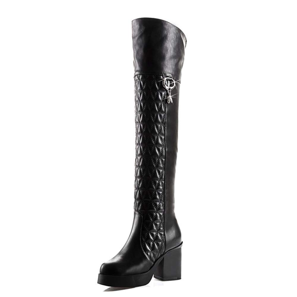 GAOQQ Damen Winter Over Knie Stiefel, High Heel Plus Velvet Long Stiefel,CN39