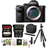 Sony Alpha a7SII Mirrorless Digital Camera (Body Only) with 35mm T2.2 Sony E-Mount Lens & 128GB Memory Card Accessory Bundle