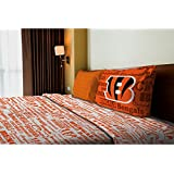 3 Piece NFL Bengals Anthem Sheet Twin Set, Football Themed Bedding Sports Patterned, Team Logo Fan M
