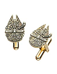 Star Wars Jewelry Men's Episode 8 Stainless Steel Gold Plated Millenium Falcon Cuff Link, One Size