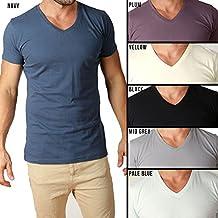 New Mens Cotton V Neck tshirts Slim Fit tees casual blank basic clothing