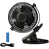 Battery Operated Clip On Fan, Rechargeable Mini Clip On Desk Fan Small USB Electric Fan for Baby Pram Stroller Car Travel Office Room, Black