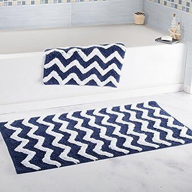 Lavish Home 100% Cotton 2 Piece Chevron Bathroom Mat Set - Navy