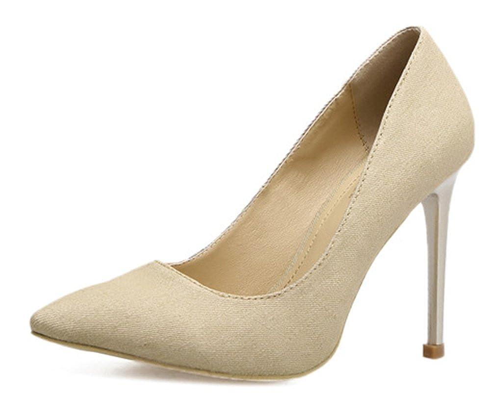 Aisun Damen Damen Damen Klassisch Denim Jeans Spitz Zehen Low Top Stiletto High Heels Pumps a66081