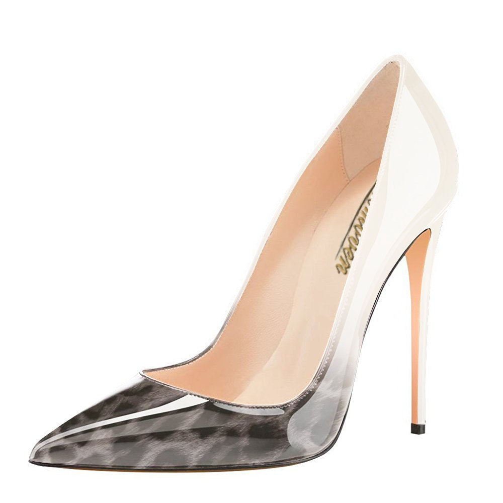 Modemoven Women's Pointy Toe High Heels Slip On Stilettos Large Size Wedding Party Evening Pumps Shoes B0711RV3KX 10 B(M) US|Gray Leopard