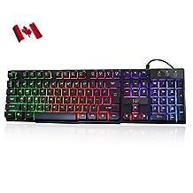 Rii RK100+ RGB LED Wired Gaming Keyboard Mechanical Feeling Keyboard