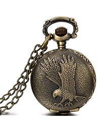 JewelryWe Eagle Mens Pocket Watch Vintage Bronze Arabic Numerals Full Hunter Chain Necklace Quartz Pocket Watch 2016 New Year Valentine's Day Christmas Gift