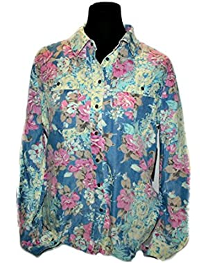 GUESS Women's Oversize Bottom-Up Floral Blouse, (Indigo Multi) - Size: M