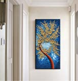 baccow Vertical Blue Gold Oil Hand Painting on