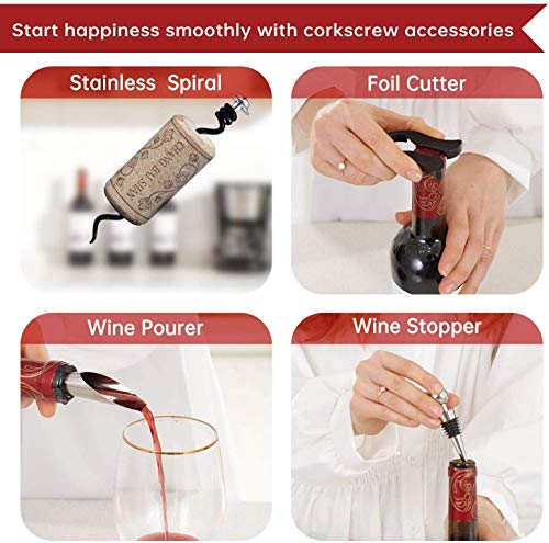 Wine Bottle Opener Corkscrew kit-[2020 Upgraded]Stainless Steel Corkscrew, Wine Opener Compact Vertical Corkscrew Wine Bottle Opener with Foil Cutter,Wine Stopper and Extra Spiral - Silver